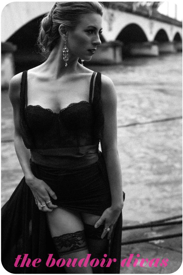 black and white seine river paris fashion portrait